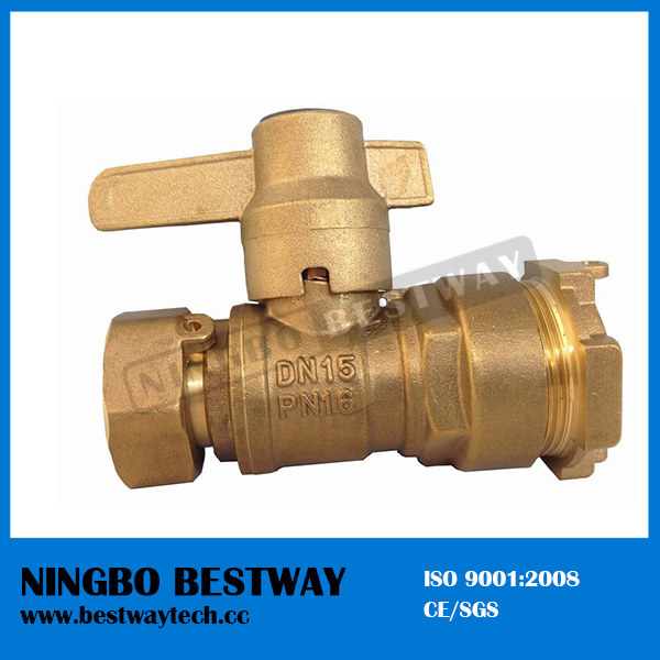 Brass Water Meter Magnetic Lockable Ball Valve Price (BW-L18)